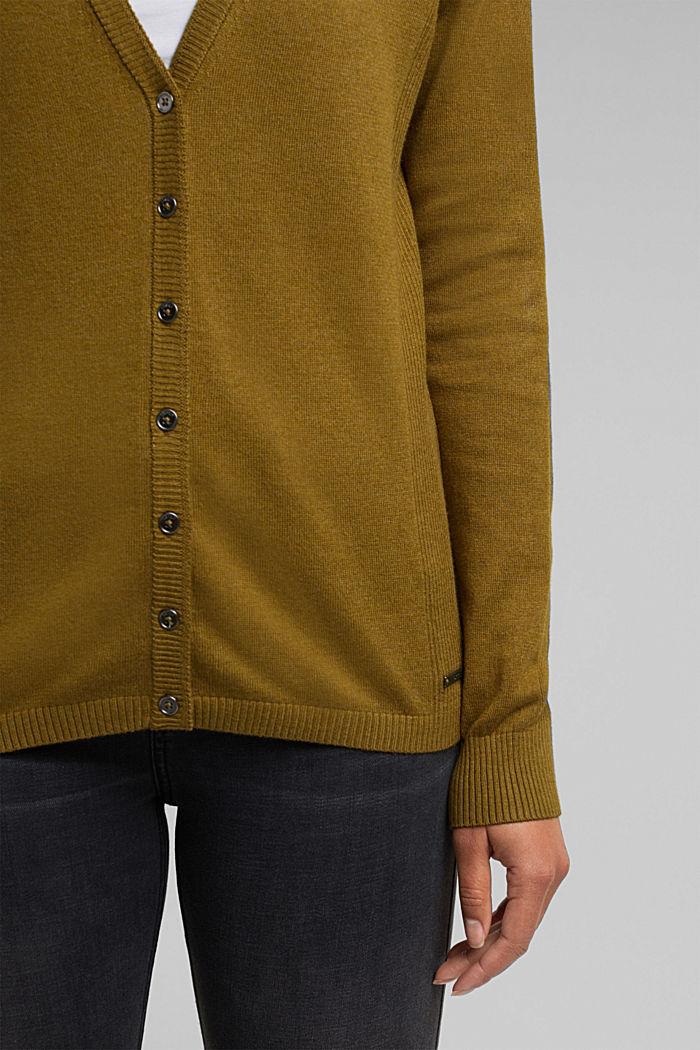 Basic V-neck cardigan with organic cotton, OLIVE, detail image number 2