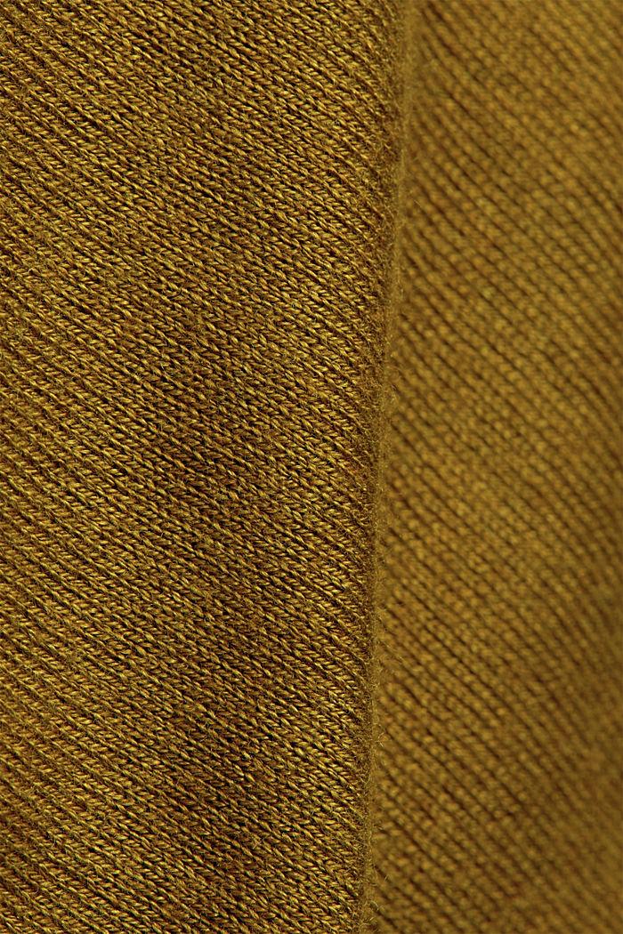 V-päänteinen perusneuletakki, sis. luomupuuvillaa, OLIVE, detail image number 4
