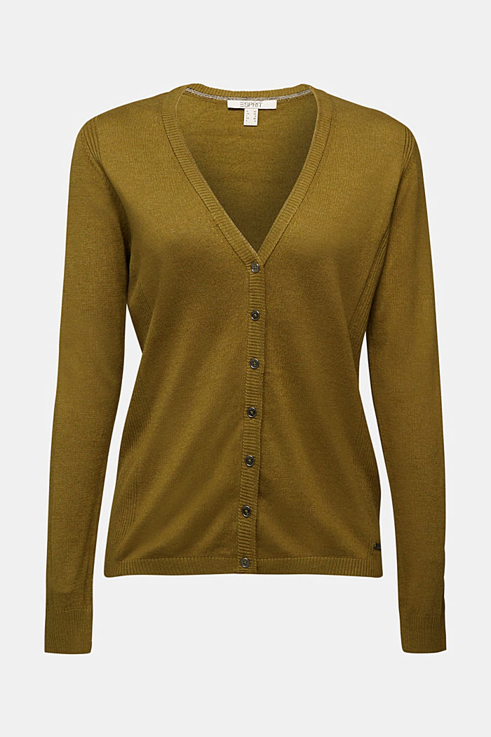 Basic V-neck cardigan with organic cotton, OLIVE, detail image number 5