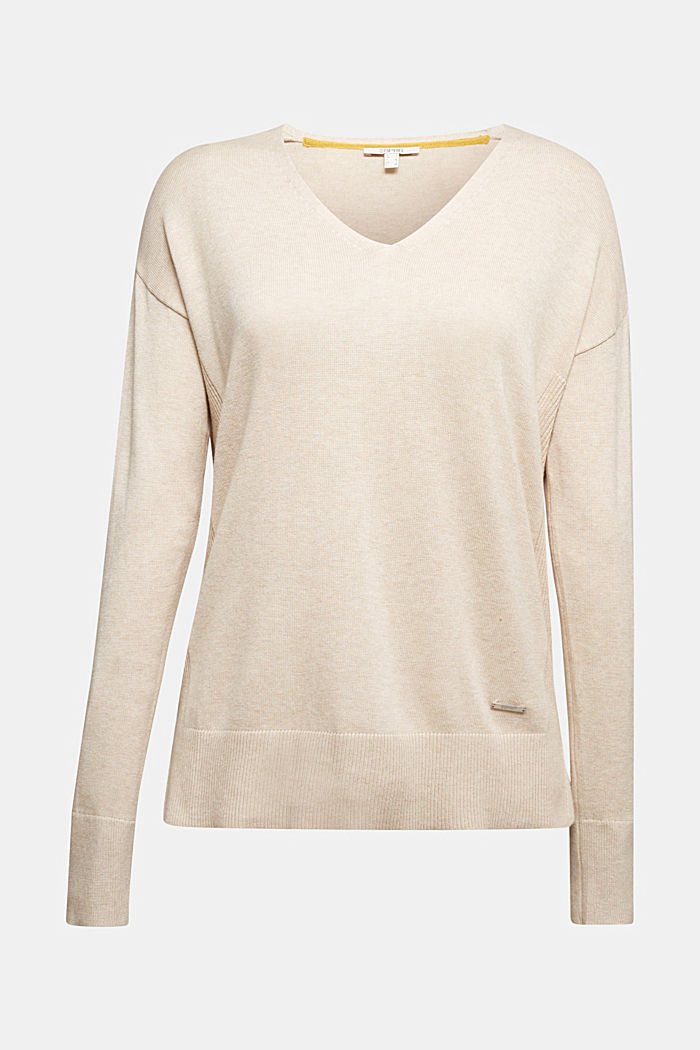 V-neck jumper containing organic cotton, SAND, detail image number 6