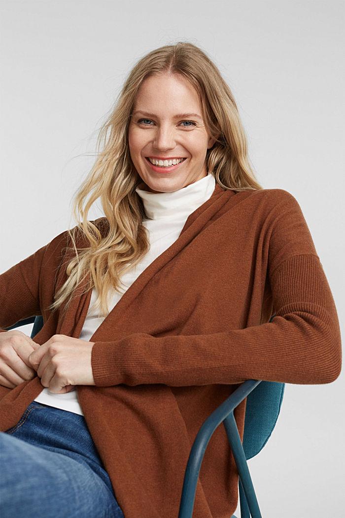 Offener Cardigan aus 100% Bio-Baumwolle, TOFFEE, detail image number 0