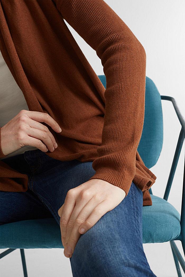 Offener Cardigan aus 100% Bio-Baumwolle, TOFFEE, detail image number 2
