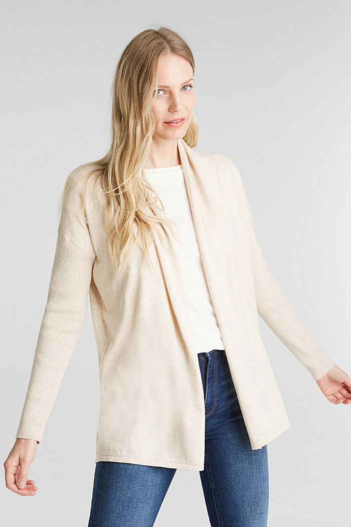 Open cardigan made of 100% organic cotton, SAND, detail image number 0