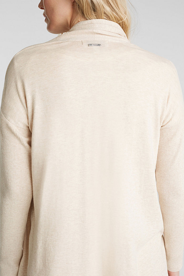 Open cardigan made of 100% organic cotton, SAND, detail image number 5