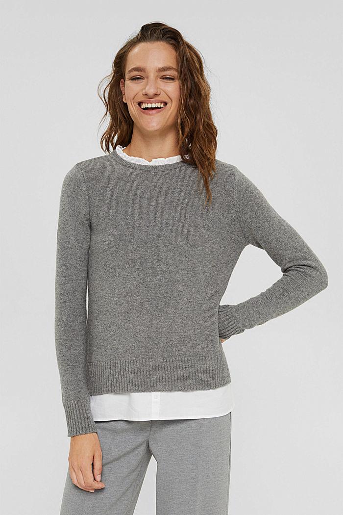 Wool blend: layered-effect jumper, GUNMETAL, detail image number 0