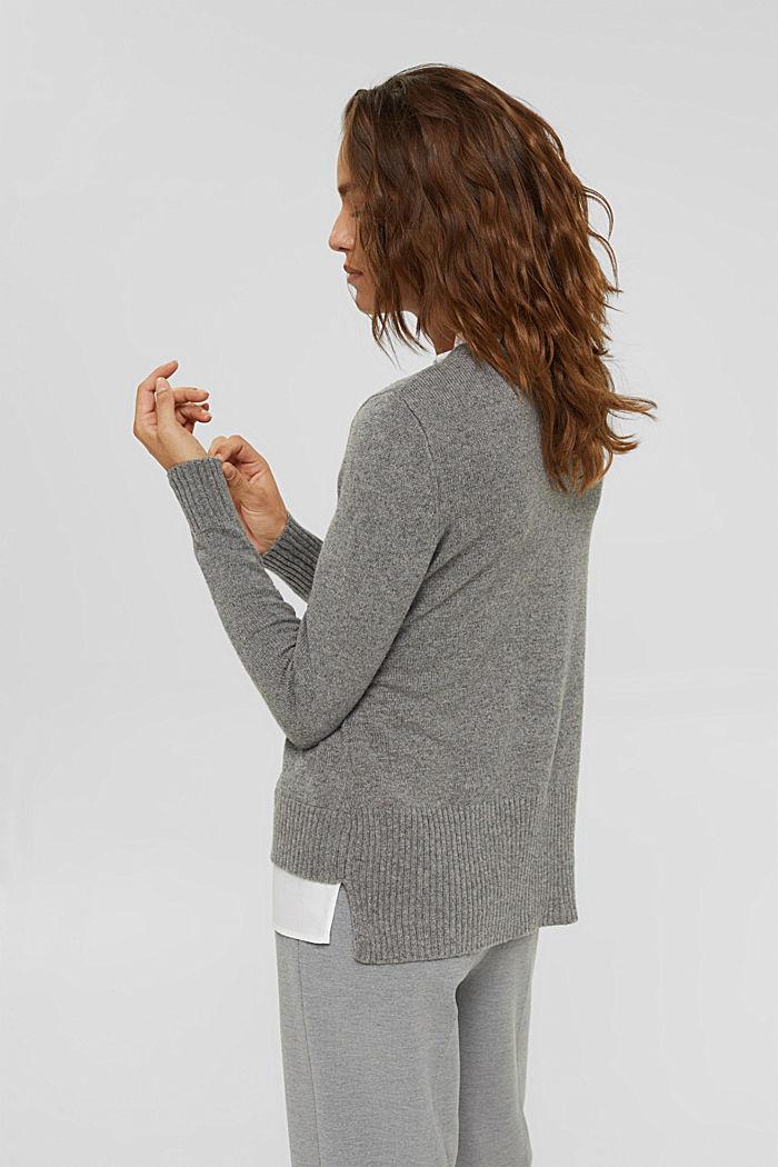 Wool blend: layered-effect jumper, GUNMETAL, detail image number 3