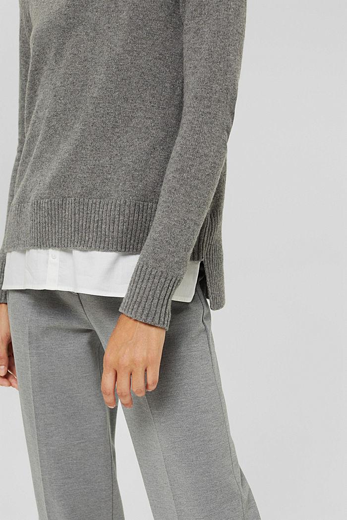 Wool blend: layered-effect jumper, GUNMETAL, detail image number 5