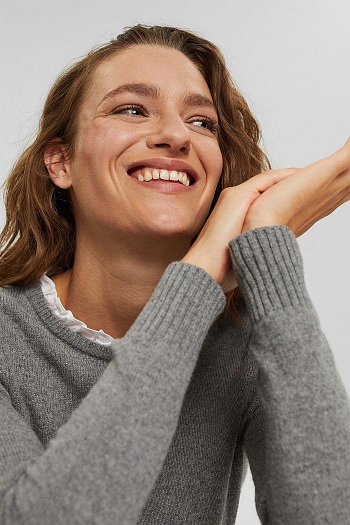 Wool blend: layered-effect jumper, GUNMETAL, detail image number 6