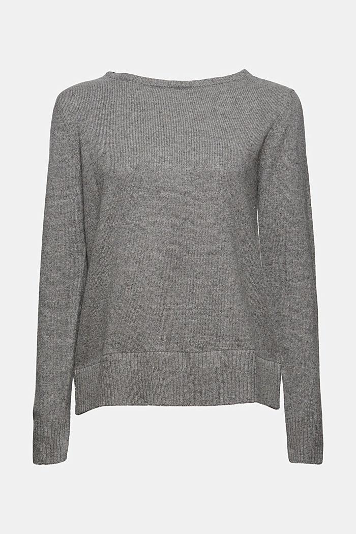Wool blend: layered-effect jumper, GUNMETAL, detail image number 8