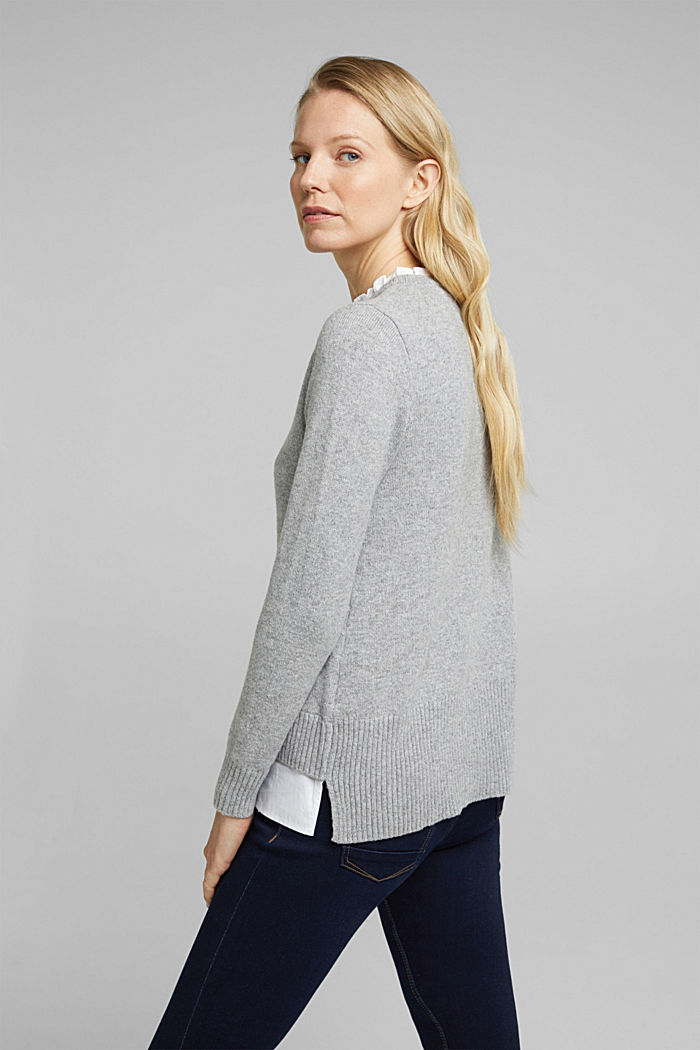 Wool blend: jumper with a frilled blouse insert, LIGHT GREY, detail image number 3