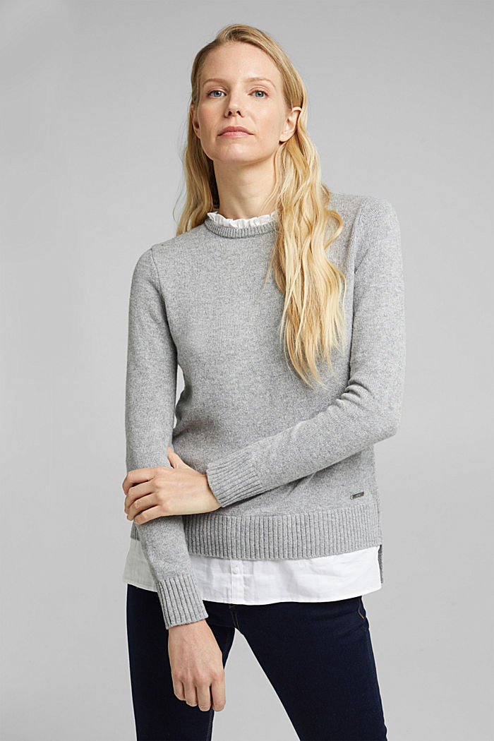Wool blend: jumper with a frilled blouse insert, LIGHT GREY, detail image number 5