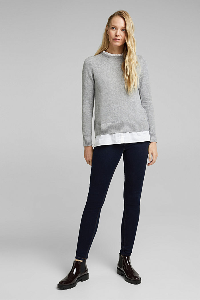 Wool blend: jumper with a frilled blouse insert, LIGHT GREY, detail image number 1