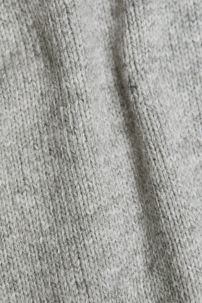 Wool blend: jumper with a frilled blouse insert, LIGHT GREY, detail image number 4