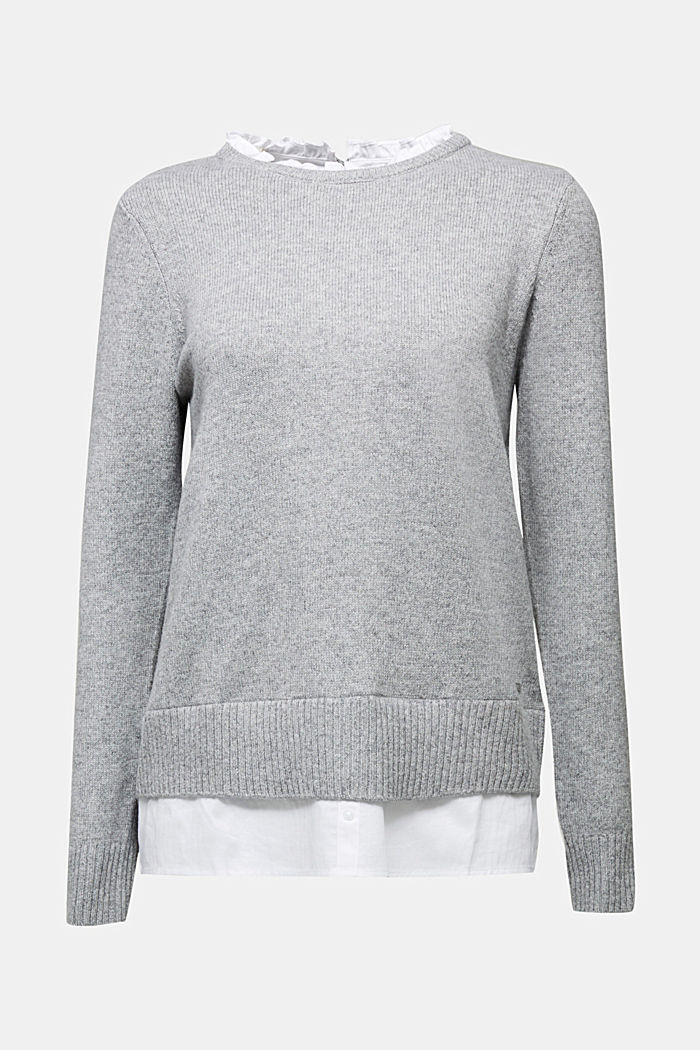 Wool blend: jumper with a frilled blouse insert, LIGHT GREY, detail image number 6