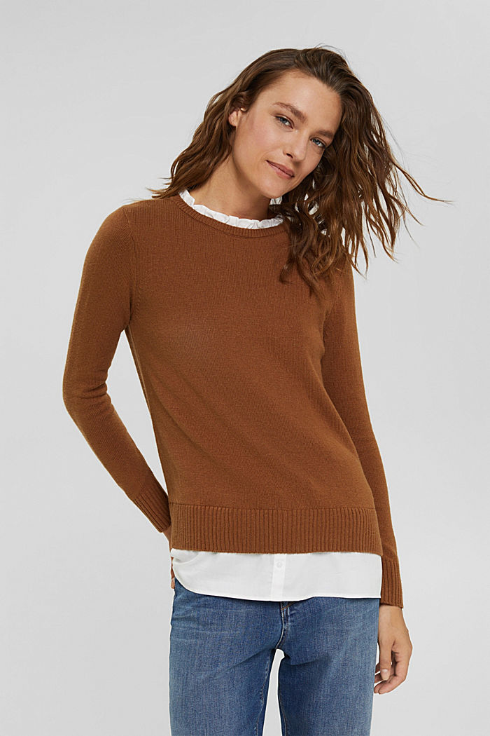Con lana: pullover con effetto a strati, TOFFEE, detail image number 0