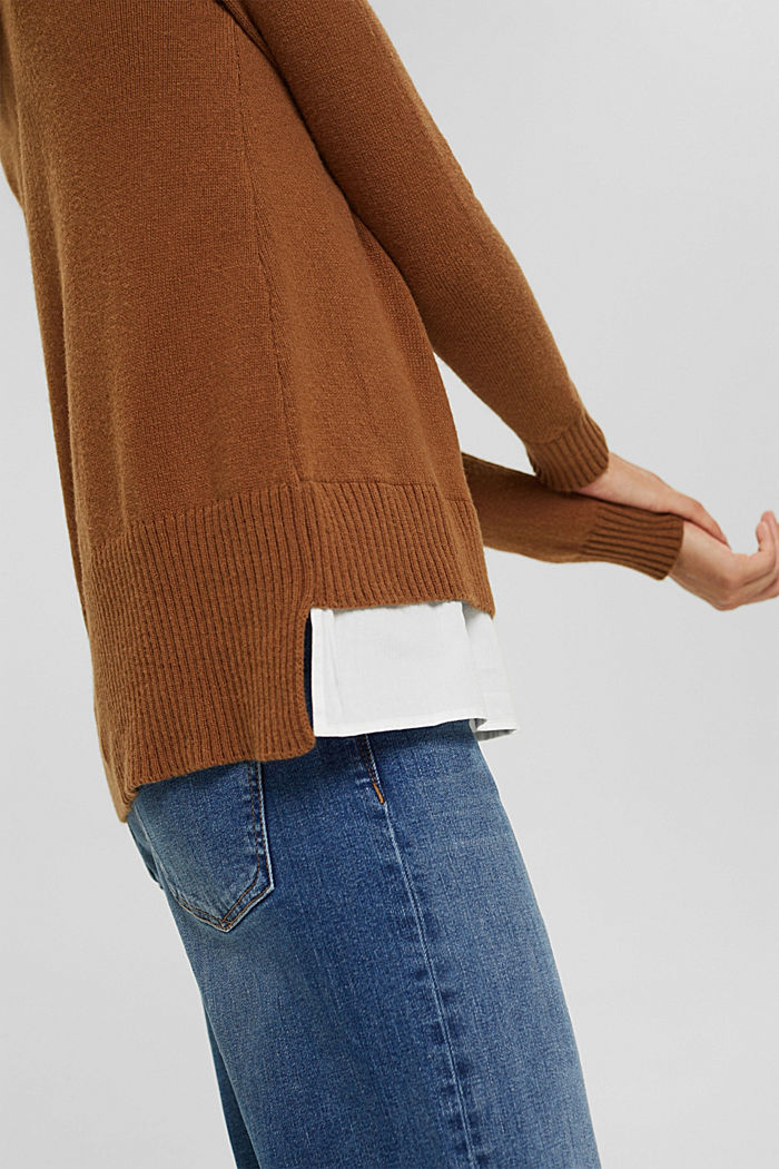 Con lana: pullover con effetto a strati, TOFFEE, detail image number 5