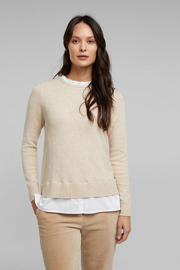 Wool blend: jumper with a frilled blouse insert