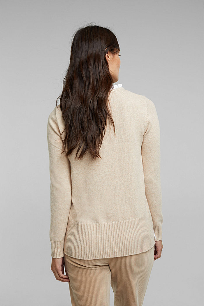 Wool blend: jumper with a frilled blouse insert, SAND, detail image number 3