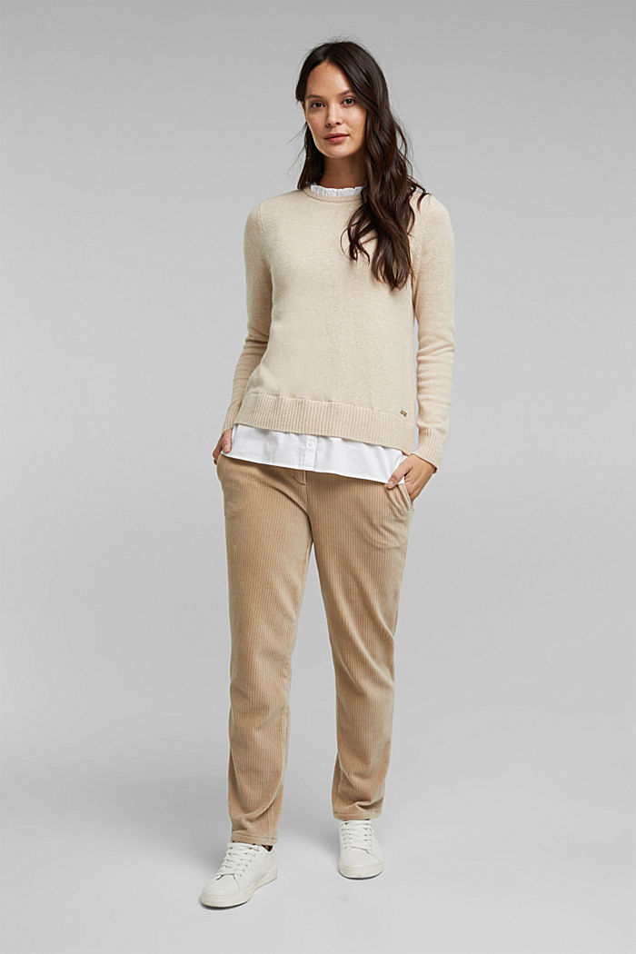 Wool blend: jumper with a frilled blouse insert, SAND, detail image number 1