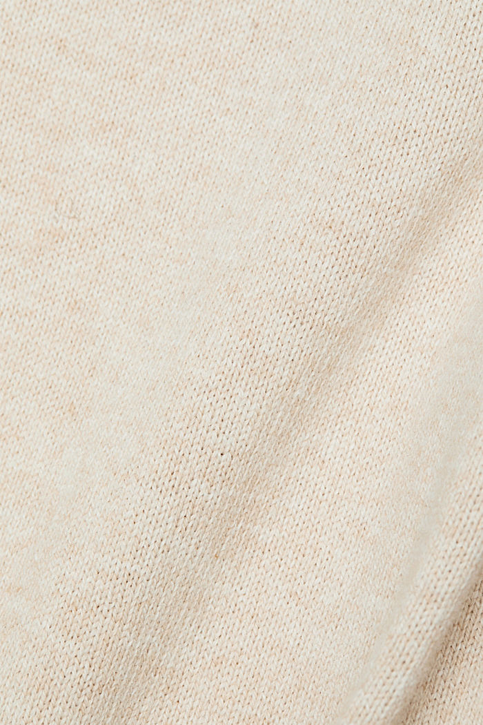 Wool blend: jumper with a frilled blouse insert, SAND, detail image number 4
