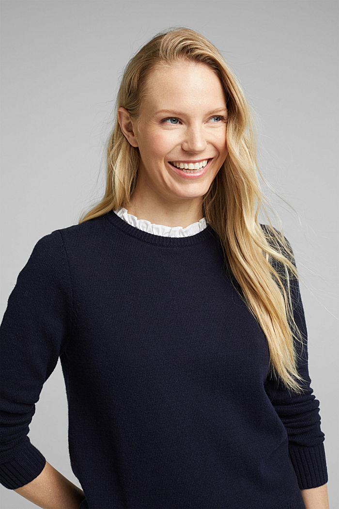 Wool blend: jumper with a frilled blouse insert, NAVY, detail image number 0