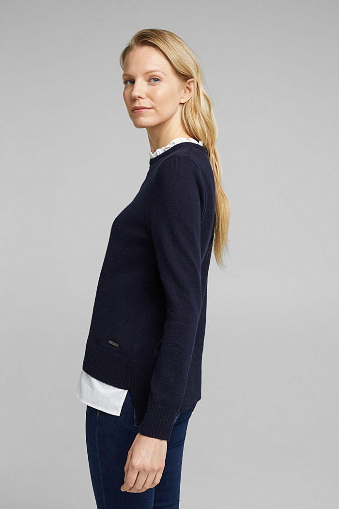 Wool blend: jumper with a frilled blouse insert, NAVY, detail image number 3