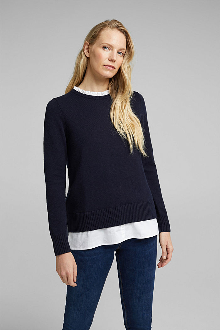 Wool blend: jumper with a frilled blouse insert, NAVY, detail image number 6