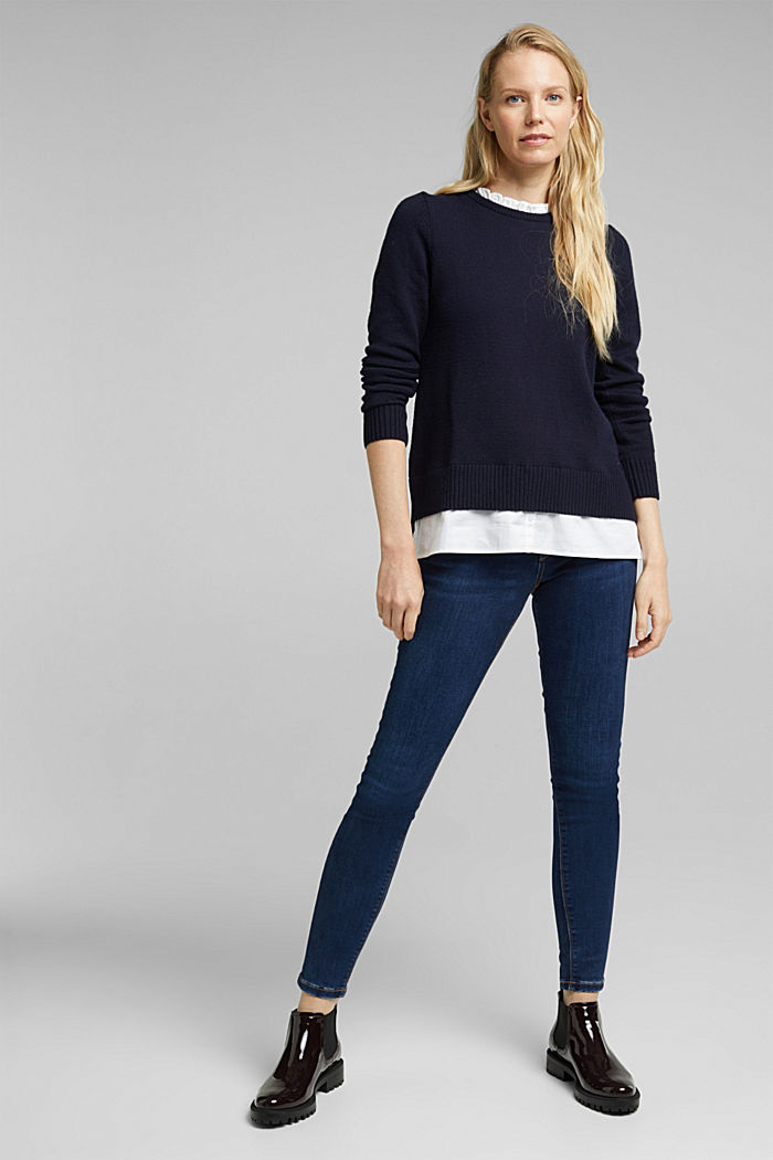 Wool blend: jumper with a frilled blouse insert, NAVY, detail image number 1