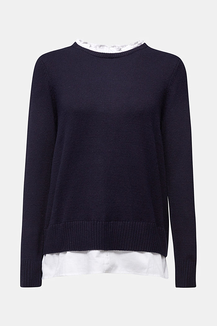 Wool blend: jumper with a frilled blouse insert, NAVY, detail image number 7