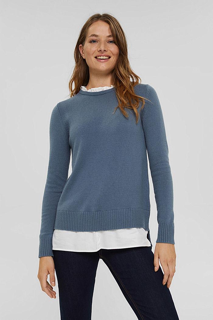 Wool blend: layered-effect jumper, GREY BLUE, detail image number 0