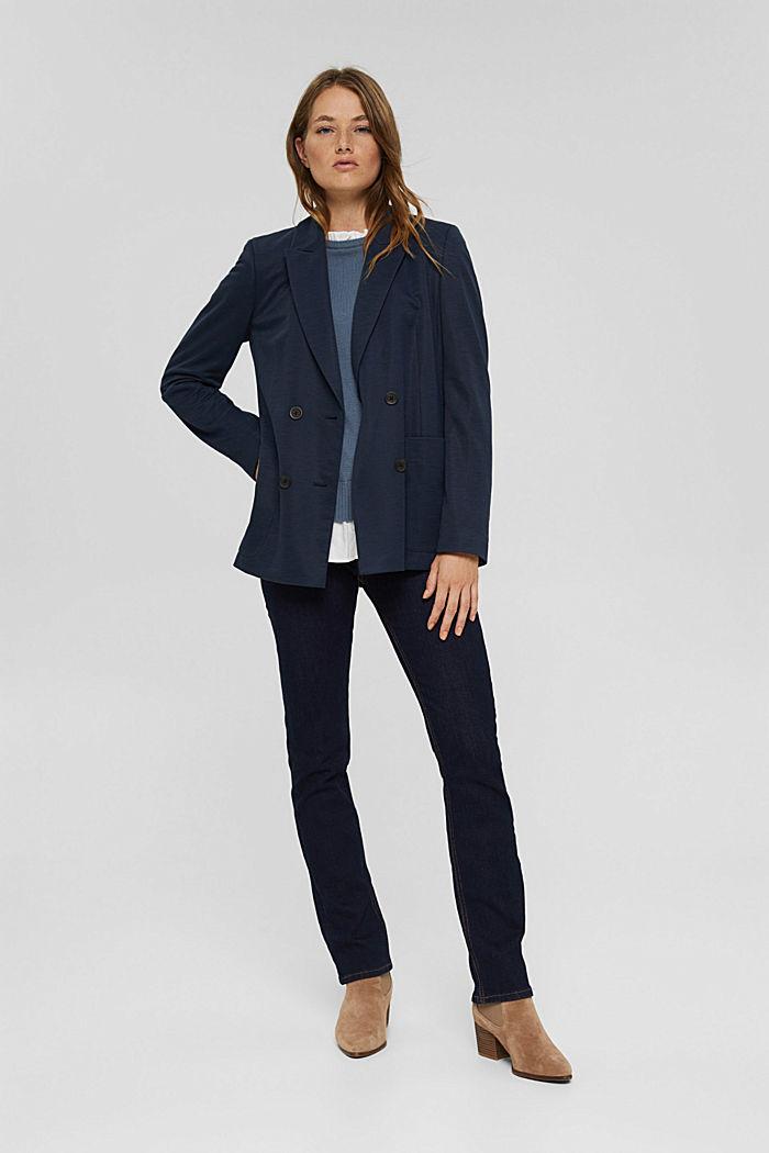 Wool blend: layered-effect jumper, GREY BLUE, detail image number 1