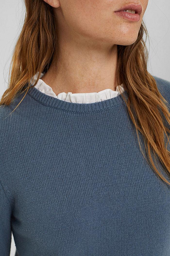 Wool blend: layered-effect jumper, GREY BLUE, detail image number 2