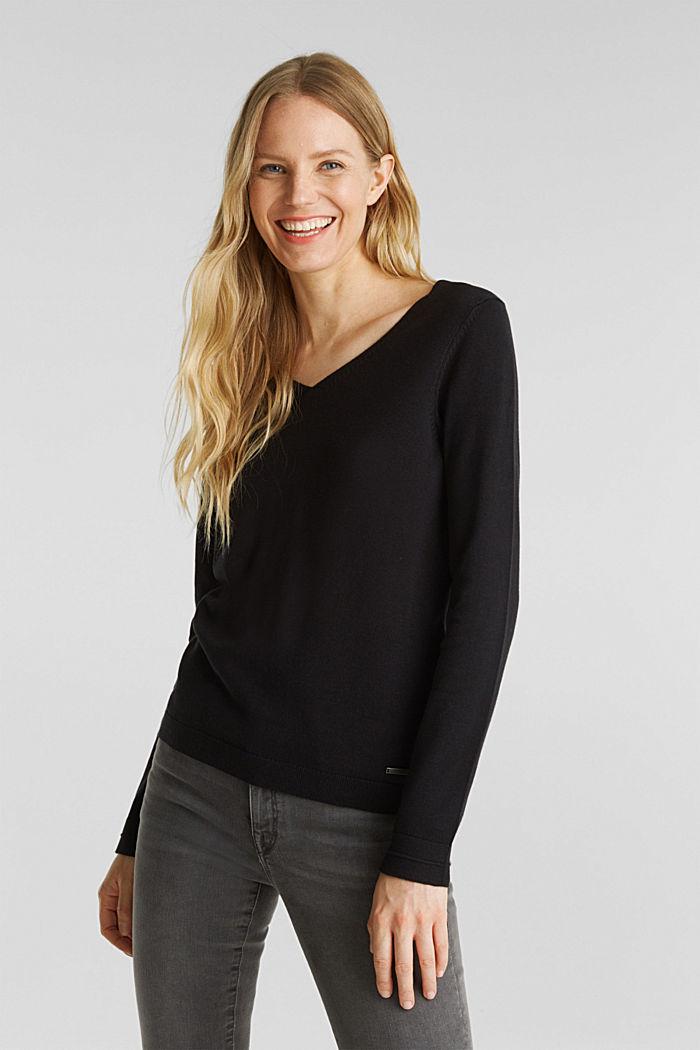 V-neck jumper containing organic cotton, BLACK, detail image number 0