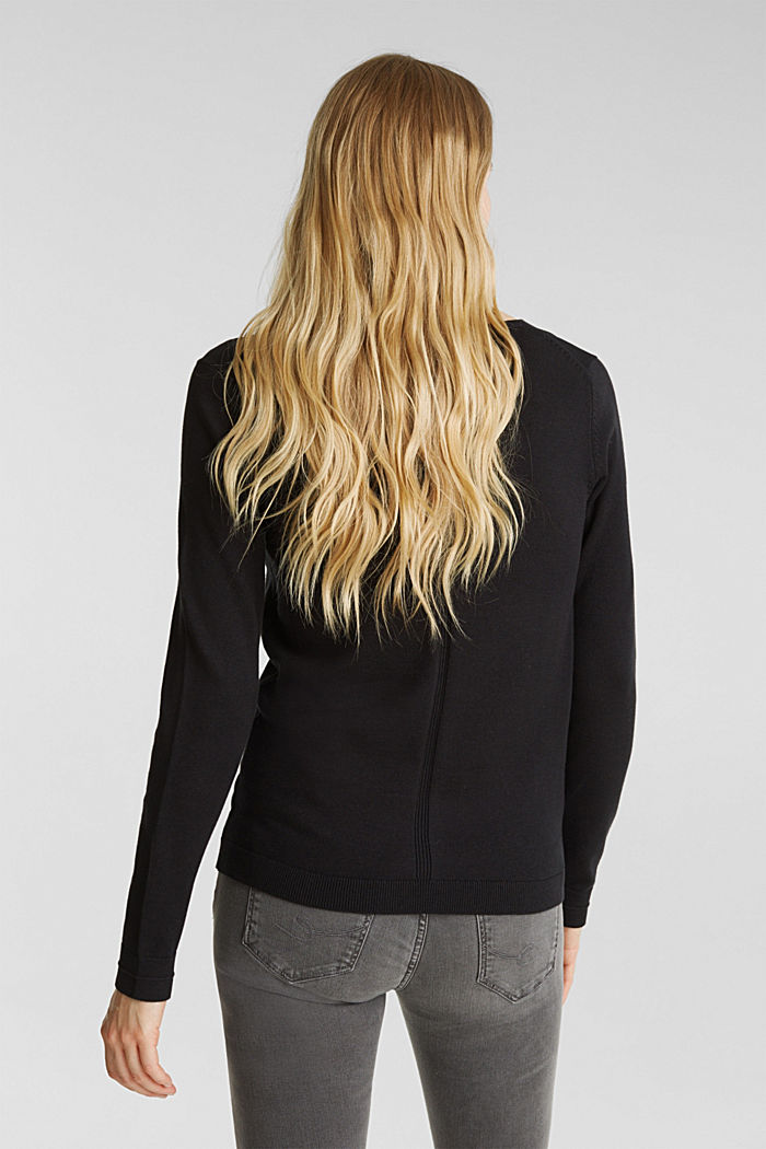 V-neck jumper containing organic cotton, BLACK, detail image number 3