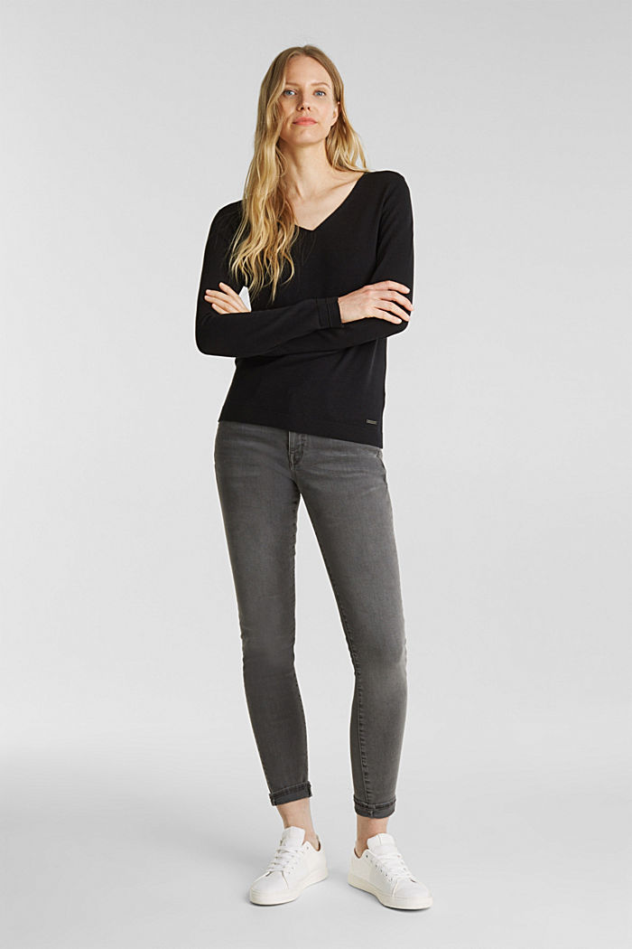 V-neck jumper containing organic cotton, BLACK, detail image number 1