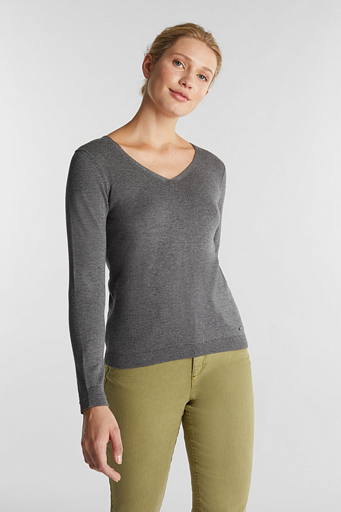 V-neck jumper containing organic cotton, DARK GREY, detail image number 0