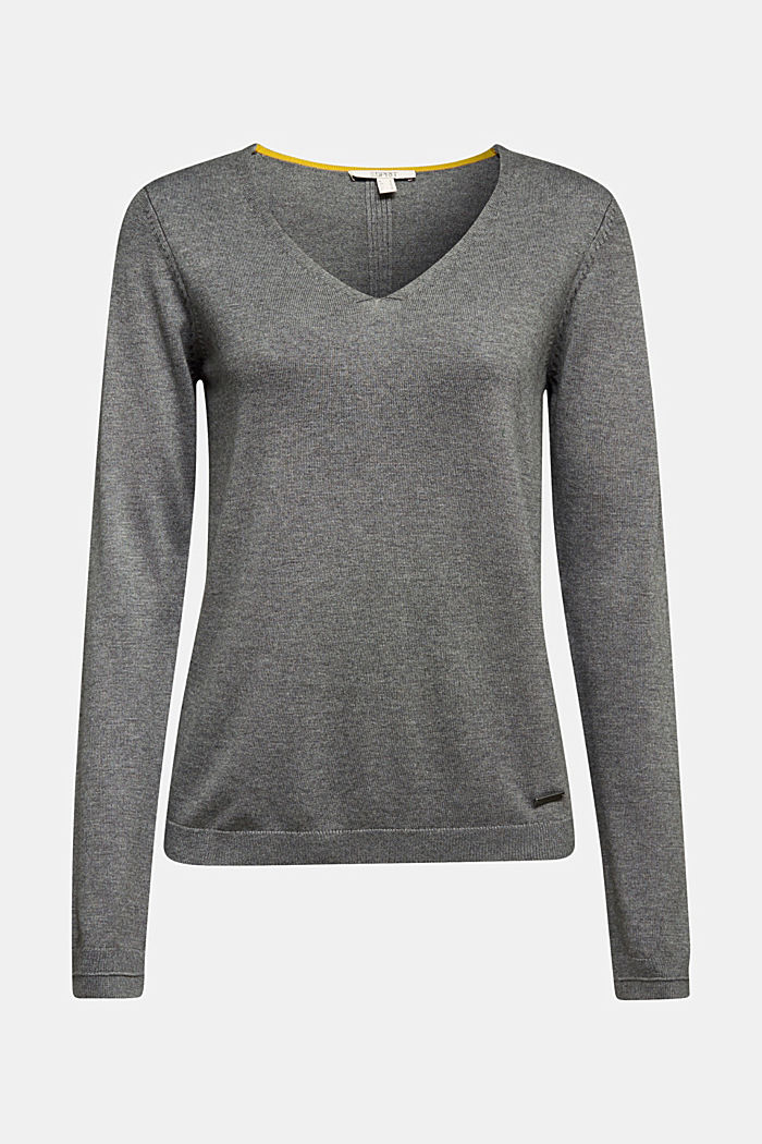 V-neck jumper containing organic cotton, DARK GREY, detail image number 5