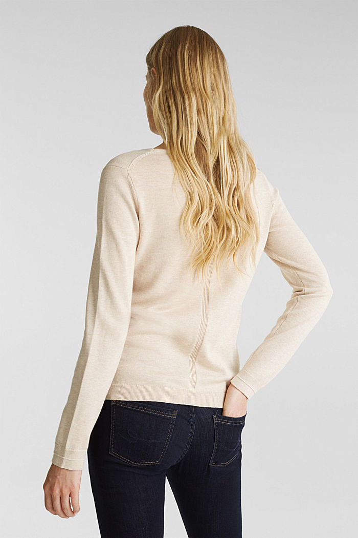 V-neck jumper containing organic cotton, SAND, detail image number 3