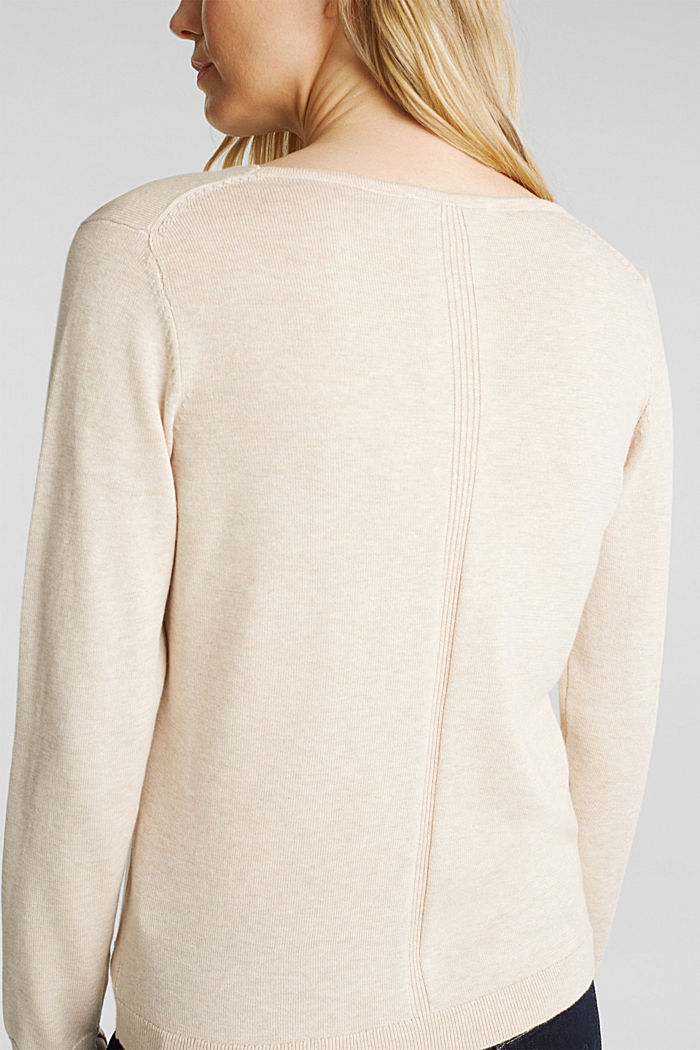 V-neck jumper containing organic cotton, SAND, detail image number 2
