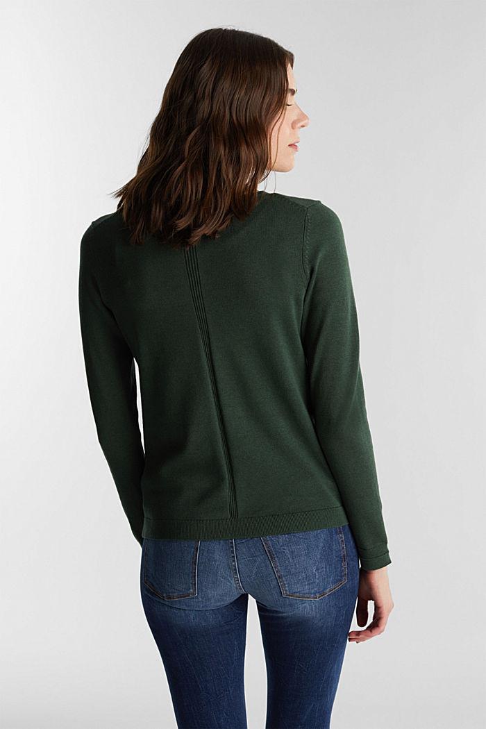 V-neck jumper containing organic cotton, DARK GREEN, detail image number 2