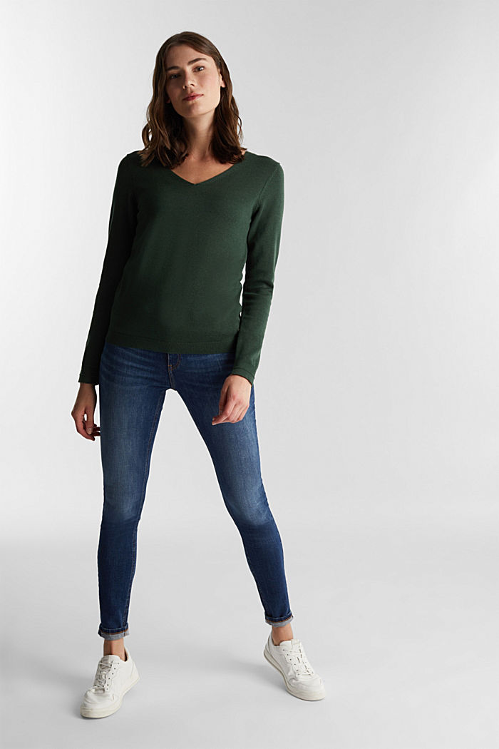 V-neck jumper containing organic cotton, DARK GREEN, detail image number 1