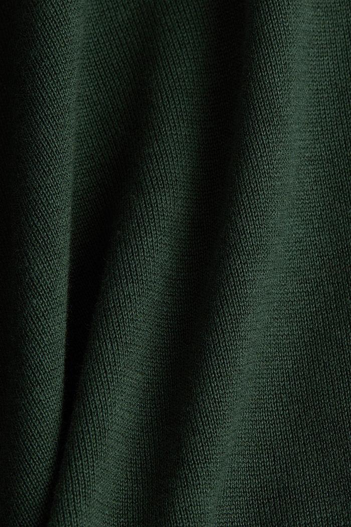 V-neck jumper containing organic cotton, DARK GREEN, detail image number 3