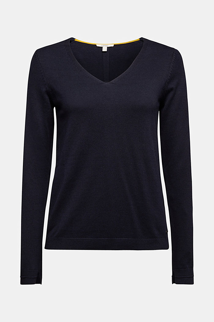 V-neck jumper containing organic cotton, NAVY, detail image number 5