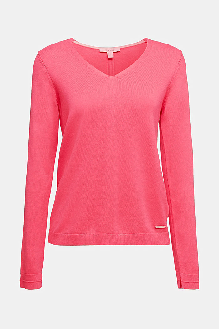 V-Neck-Pullover mit Organic Cotton