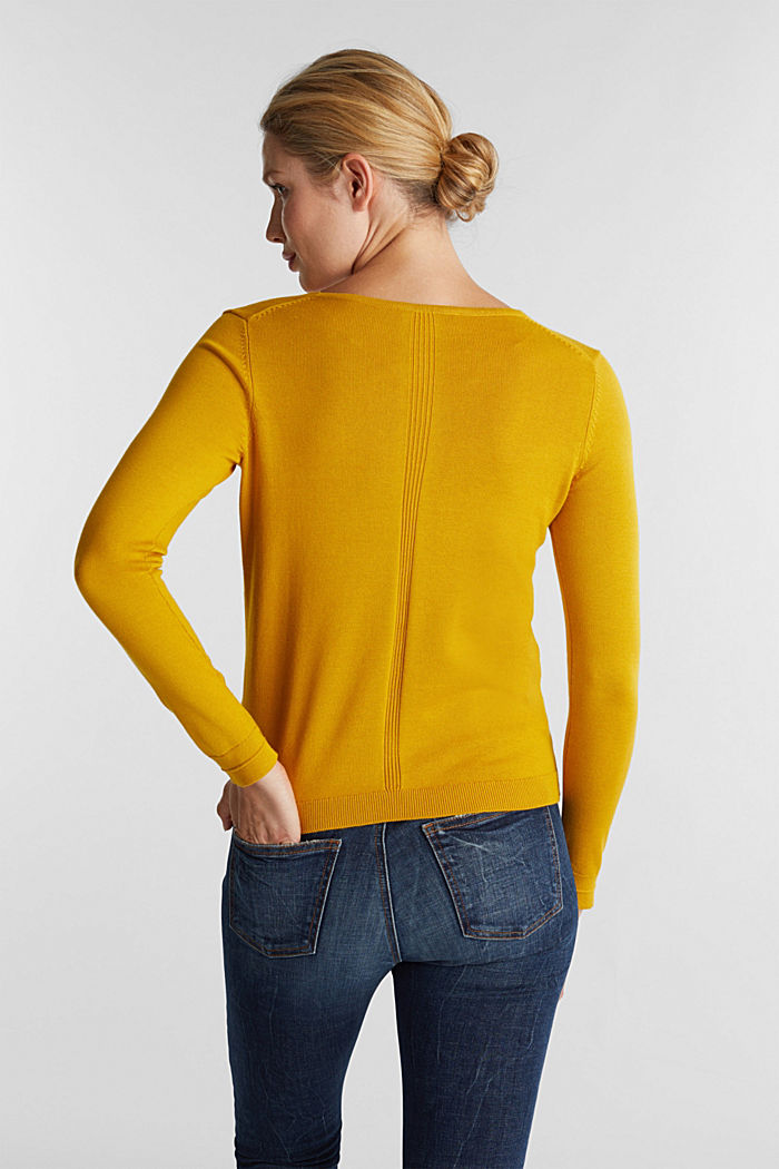 V-neck jumper containing organic cotton, BRASS YELLOW, detail image number 3