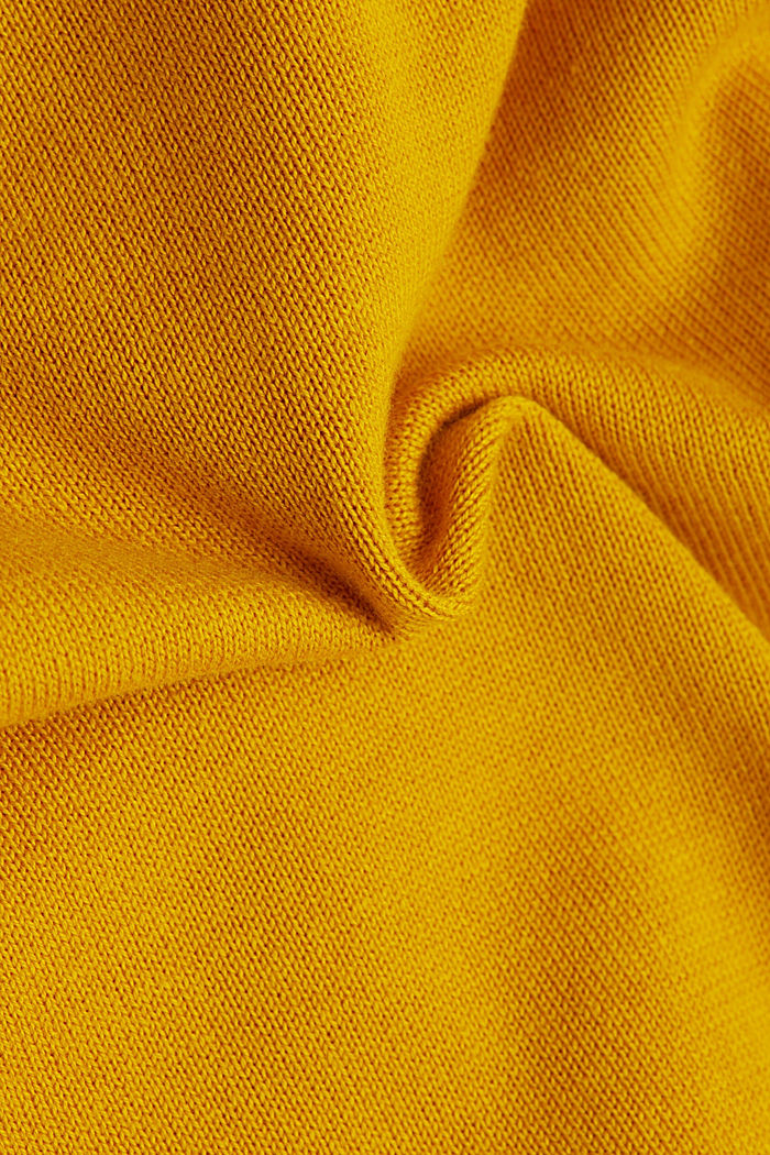 V-neck jumper containing organic cotton, BRASS YELLOW, detail image number 4