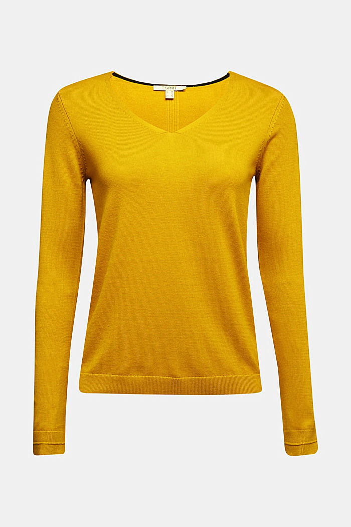 V-neck jumper containing organic cotton, BRASS YELLOW, detail image number 5