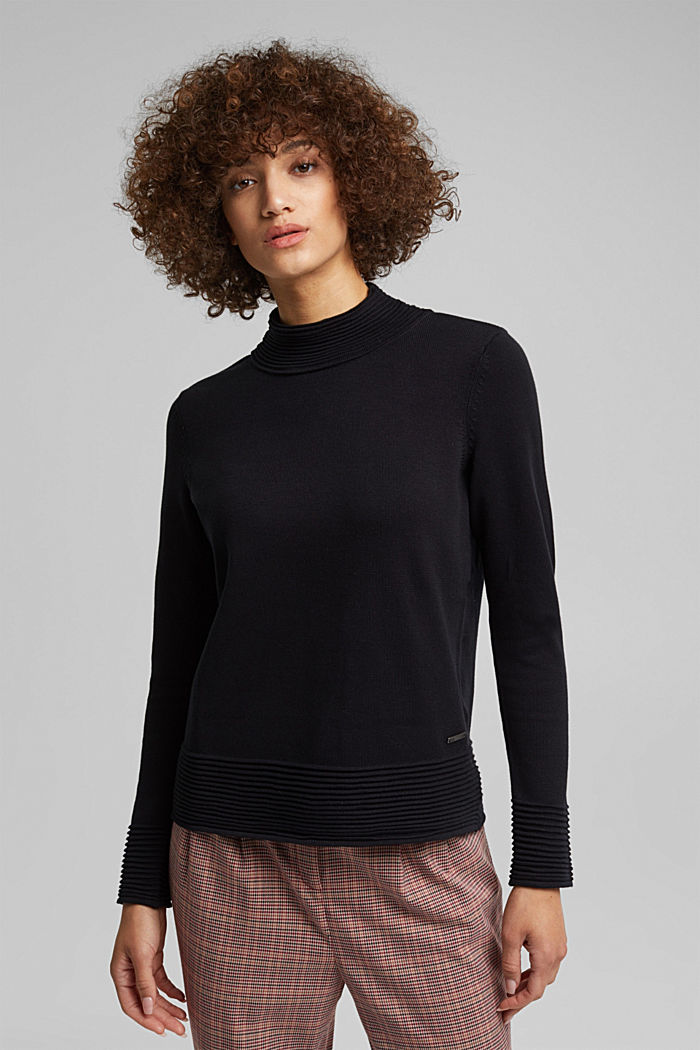 Turtleneck jumper made of organic blended cotton, BLACK, detail image number 0