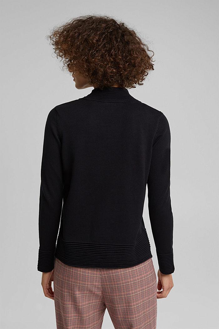 Turtleneck jumper made of organic blended cotton, BLACK, detail image number 3