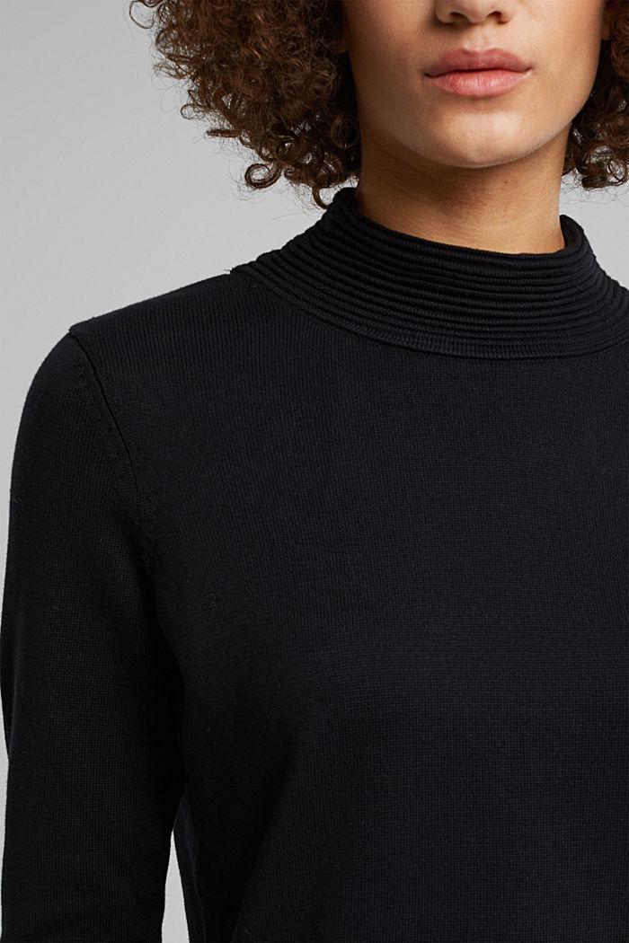 Turtleneck jumper made of organic blended cotton, BLACK, detail image number 2